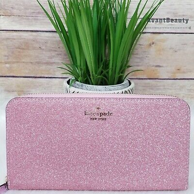 $ CDN164.59 • Buy Kate Spade Lola Glitter Large Continental Wallet Rose Pink Sparkle $229