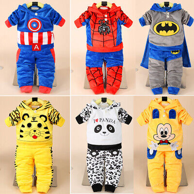 Baby Kid Toddler Boy Girl Superhero Tops+Pants Outfit Hooded Clothes Set Costume • 13.99£
