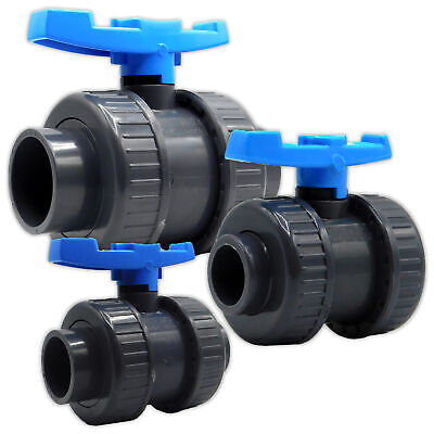 £14.99 • Buy PVC Ball Valve Double Union Solvent Weld 0.75  To 4  Pond Fish Koi Pipe Fitting