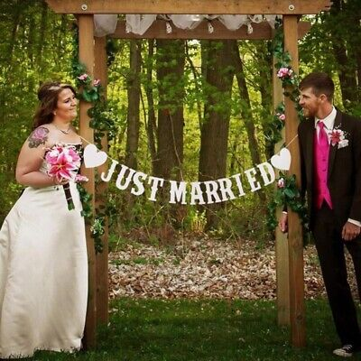 Just Married Wedding Bunting Banners Card Photo Prop - Wedding Decoration • 3.46£