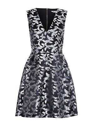 Yumi Black Butterfly Pleated Party Dress Size UK 14 Rrp £55 NH191 EE 19 • 49.99£