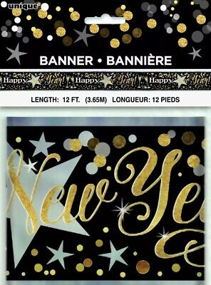 12ft Happy New Year Foil Banner Party Decoration Black Gold Silver New Years Eve • 3.99£
