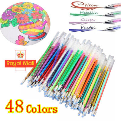 48 Color Gel Pens Refills Glitter Sparkling Stationery Art Craft Paint Supplies • 4.98£