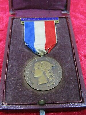WW1 French Ministry Of War Bronze Medal For Foreign Service / Miss A. Ruddy 1919 • 110£