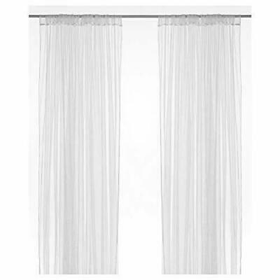 New Ikea LILL One Pair Of Long Sheer Floaty White Net Curtains 280x250cm • 9£
