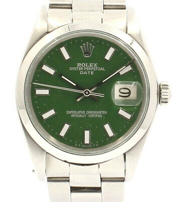 $ CDN5502.63 • Buy Mens Vintage ROLEX Oyster Perpetual Date 34mm GREEN Dial Stainless Steel Watch