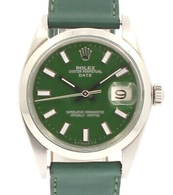 $ CDN5243.13 • Buy Mens Vintage ROLEX Oyster Perpetual Date 34mm GREEN Dial Stainless Steel Watch