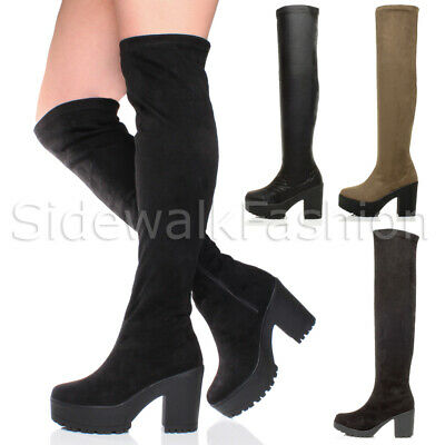 Womens Zip High Chunky Heel Platform Over The Knee Thigh Stretch Boots Size • 9.99£