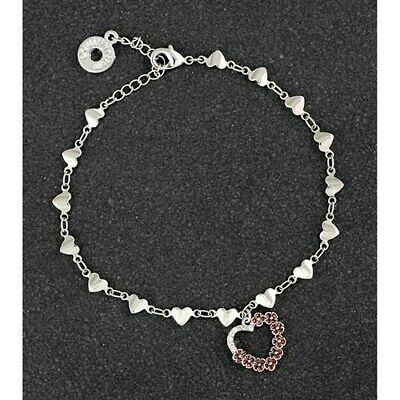 Diamante Heart Bracelet Poppies Equilibrium Silver Plated Jewellery Gift Boxed • 13.99£