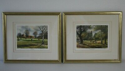 Terry Harrison Golf Prints  Chip & Run  +  Approching The Green  Signed & Framed • 29£