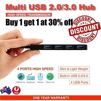AU7.49 • Buy 30%OFF Slim USB 2.0 3.0 Hub 4 Port Adapter High Speed Splitter Compact Expansion