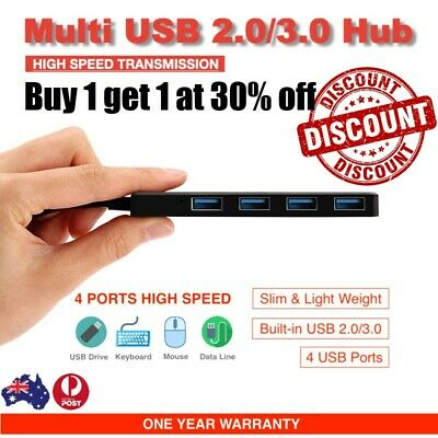 AU5.99 • Buy USB 2.0 3.0 Hub 4 Port Type C To USB Adapter High Speed Slim Compact Expansion
