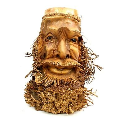 £21.95 • Buy Root Wood Carving Ethnic Green Man Weird Storage Pen Holder Decor Gift