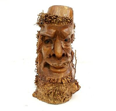 £16.95 • Buy Root Wood Carving Ethnic Green Man Weird Storage Pen Holder Decor Gift Christmas
