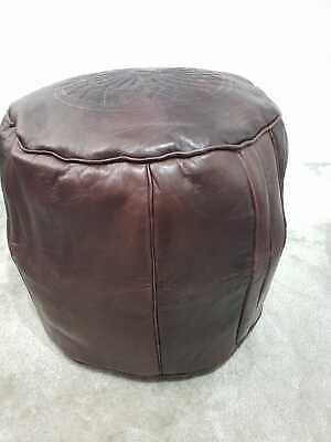 MOROCCAN LEATHER POUFFE - Genuine Real Leather Pouffe - Luxury Footstool Seating • 40.49£