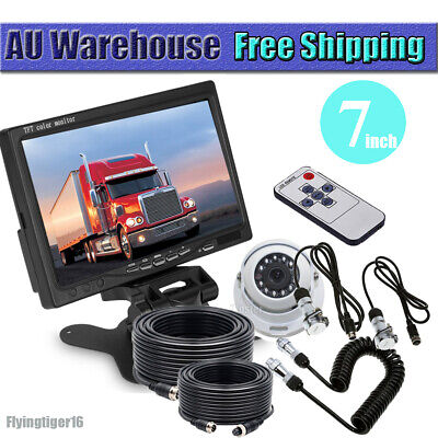 AU169.86 • Buy 4 PIN CCD Reversing Camera W/7 Monitor & Trailer Suzy Coil Cable Kit For Caravan