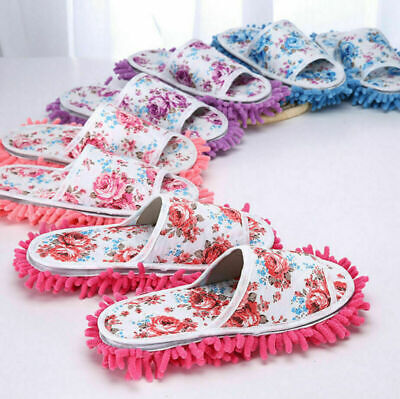 UK Microfiber Dust Mop Slippers Lazy Quick House Floor Cleaning Shoes Home Shoes • 6.89£