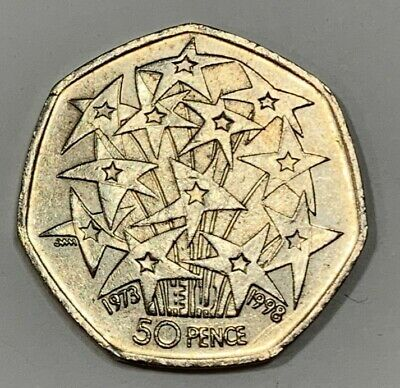 1998 25 Years Of The EU 50p Piece Coin - Circulated • 1£