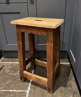 Vintage PINE School STOOL, Old Rustic WOODEN Coffee / Side TABLE. Lab, Bar Seat • 65£