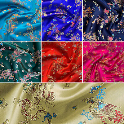 Brocade Chinese Dragon Embroidered Silky Satin Oriental Fabric | 36  - 90cm Wide • 5.99£