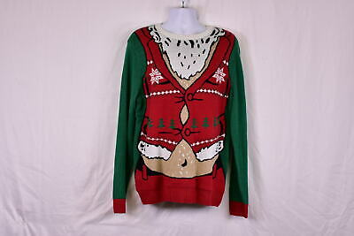 $10.99 • Buy Men's Ugly Christmas Sweater Santa Too Tight Vest, Green & Red, L