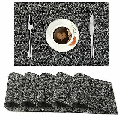 AU55.44 • Buy PVC Vinyl Washable Table Mats For Dining Table - 45x30 Cm Set Of 6