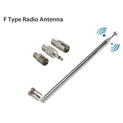 F Type Telescopic Aerial Antenna 75 Ohm With TV /3.5 Adapter Wave Radio FM • 4.38£