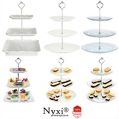 £15.99 • Buy 3 Tier Glass Ceramic Cake Stand Afternoon Tea Wedding Plates Party Tableware