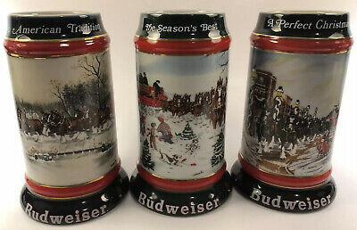 $ CDN61.53 • Buy Vintage Lot Of 3 1990-1992 Budweiser Holiday Christmas Beer Steins Clydesdale