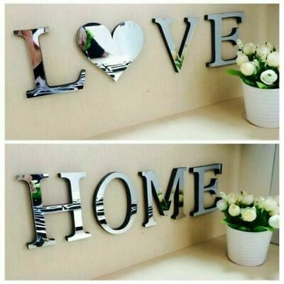 4 Letters Love Home Furniture Mirror Tiles Wall Sticker Self-Adhesive Art Decor • 5.39£