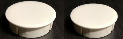 2x IKEA Cover Caps Round Plastic White Malm Desk W/ Pull-out Panel PART# 114919 • 5.65£