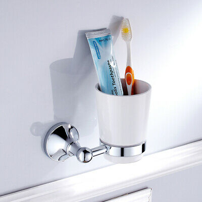 MagiDeal Wall Mounted Single Glass Toothbrush Holder Tumbler Holder With Cup • 12.55£