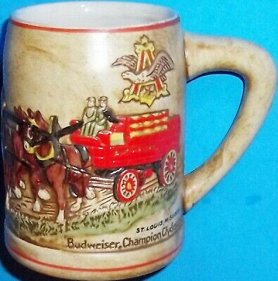 $ CDN65.32 • Buy Vintage 1980 Budweiser Champion Clydesdales Holiday Beer Mug Stein 1st Series