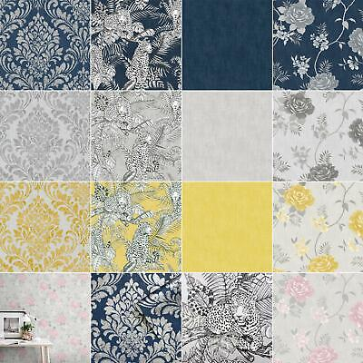 Muriva Darcy James Collection Wallpaper - Damask Exotic Leopards Flowers Roses • 8.95£