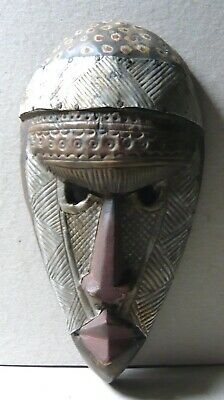 African Wooden Mask With Metal Embellishments • 25£