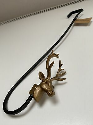 Anthropologie Christmas Reindeer Wreath Hook/Door Hanger. Black/Brass • 20.86£