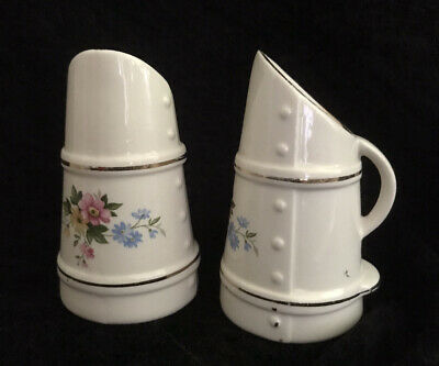 2 X Small Cream Porcelain Coal Scuttle VASES - Flower And GOLD Detail   • 5£