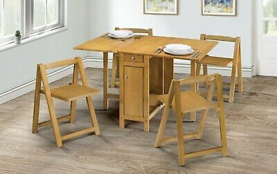 £239.99 • Buy Savoy Folding Drop Leaf Butterfly Dining Set With Table 4 Chairs Oak Hardwood
