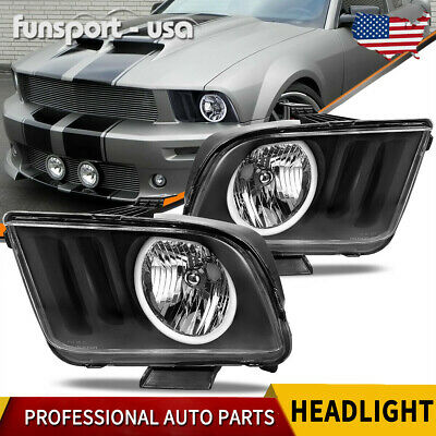 $139.01 • Buy For 2005-2009 Ford Mustang Black Housing Clear Lens Halo Headlights Lamps Pair
