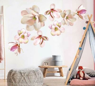 Magnolia Flowers Botanical Wall Decal Kids Nursery Stickers Baby Cot Decor Art • 16.47£