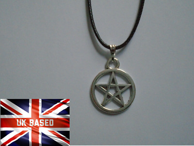 Pentagram Tibetan Silver Pendant Charm Necklace Leather Cord Free Bag UK • 2.89£