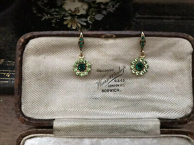 Vintage Emerald  & Peridot Green Crystal Drop Pierced Earrings • 18.90£