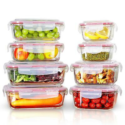 £22.99 • Buy Vinsani 8PCs Rectangle Square Glass Food Storage Containers With Airtight Lids