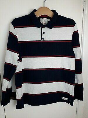 Atlantic Bay BHS Long Sleeved Striped Polo Shirt Size L Large • 4£