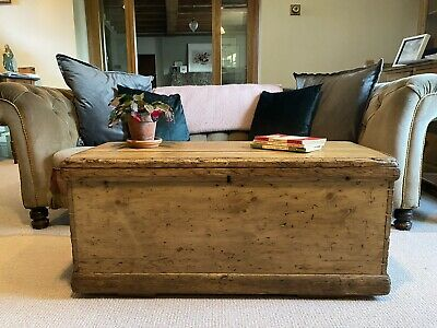Old Antique PINE CHEST, Wooden Blanket TRUNK Coffee TABLE Storage BOX & TRAY • 255£