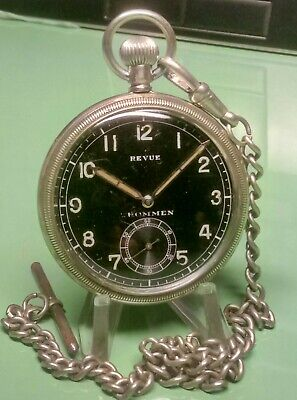 WW2 GERMAN MILITARY REVUE GT THOMMAN Cal 30 INCABLOC POCKET WATCH & CHAIN VGC • 150£