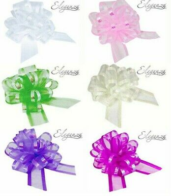 50mm Large Organza Pull Bows Birthday Christmas Presents Gift Wrap Wedding Party • 2.50£