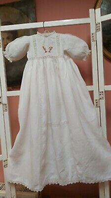 Antique Baby Dress Christening Gown Christmas Angel White Cotton Lace Vintage • 29.99£