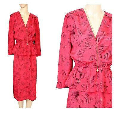 Red Black 80s Dress Satin Peplum Power Suit Abstract Art New Wave Suzanne Grae 8 • 24.74£