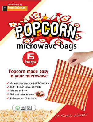 Toastabags - Pack Of 15 X Microwave Popcorn Bags - Perfect Popcorn In 2-3 Mins • 2.79£